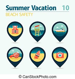 Lifeguard beach safety pin map icon set. Vacation -...