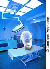 quirúrgico, interior, con, fantasma