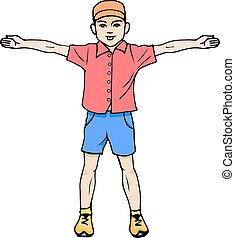 Boy standing with arms outstretched