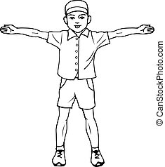 Boy standing with arms outstretched - Vector illustration of...