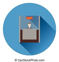 Bank clerk icon. Flat color design. Vector illustration.