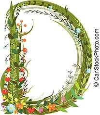 Flower blossom decorative botanical elegant alphabet letter...