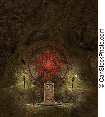 Skull cave crypt - 3D rendered dark skull cave crypt...