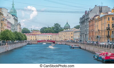 Traffic of touristic cruise boats on the Moyka River timelapse in Saint-Petersburg, Russia.