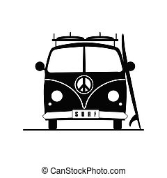 surf vehicle with hippie sign on it in black illustration -...