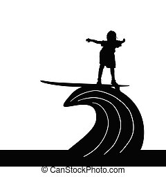 child silhouette surfing on wave in black illustration