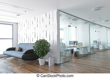 Concept of new office - Empty office, white wall beside of...