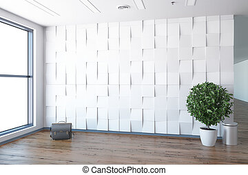Concept of new empty office - Empty office, white wall...