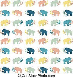 Mammoth silhouettes seamless - Seamless pattern with mammoth...