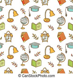 Seamless school pattern Hand drawn School or Science...