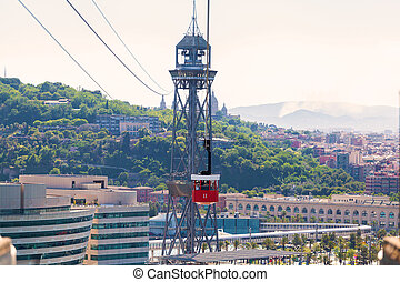 Cabin cable car against the backdrop of the city Barcelona