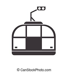 Funicular Outline Monochrome Pictogram - Funicular outline...
