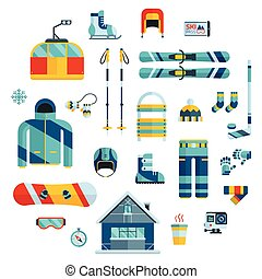 Winter Sports Kit. Winter Activity Flat Icons - Winter...