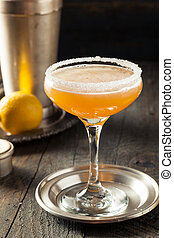 Refreshing Boozy Sidecar Cocktail with a Sugar Rim