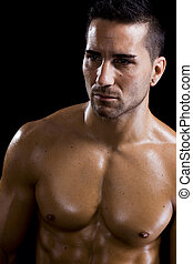 healthy man - healthy attractive guy showing his strong and...