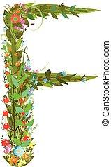 Alphabet letter F elegant flower blooming botanical sign -...