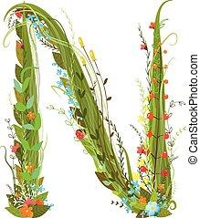 Flower calligraphy floral elegant decorative alphabet letter...