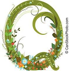 Letter Q floral latin decorative character alphabet...