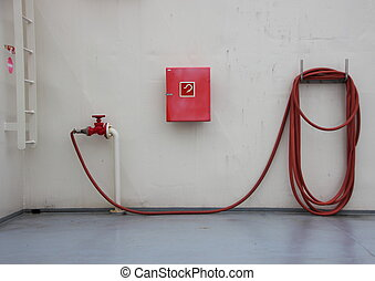 Fire Extinguish Equipment on Ferry Deck with Shadow