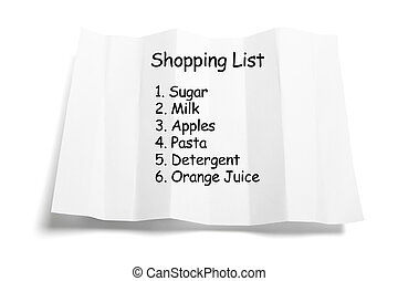 Shopping List on Isolated White Background