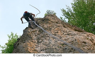 Adult Woman Finished Her Climb - Young caucasian female...