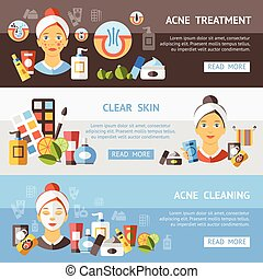 Acne Banner Set - Three horizontal acne banner set with...