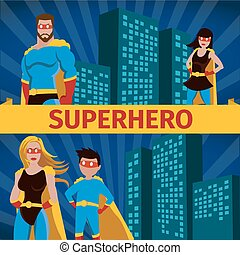 Superhero Family Flat Banner Set