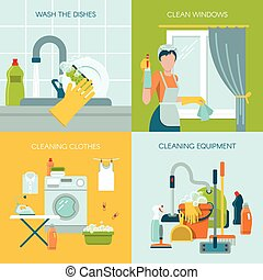 Colored Cleaning Icons Set