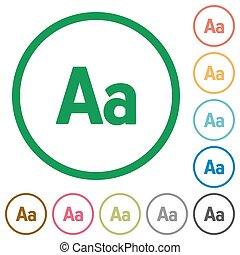 Adjust font size outlined flat icons - Set of adjust font...