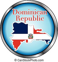 Dominican Republic Round Button - Vector Illustration for...