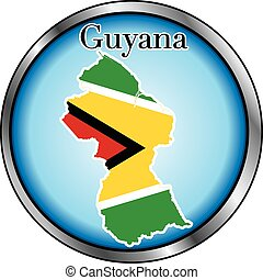 Guyana Round Button - Vector Illustration for Guyana, Round...