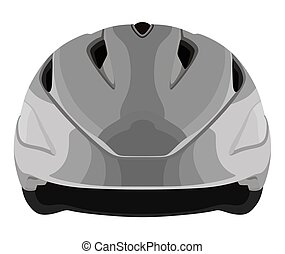 Grey bicycle helmet on a white background
