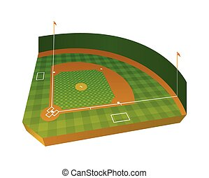Realistic Baseball Field Illustration - A realistic baseball...