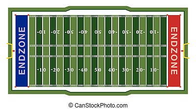American Football Field Illustration - A realistic aerial...