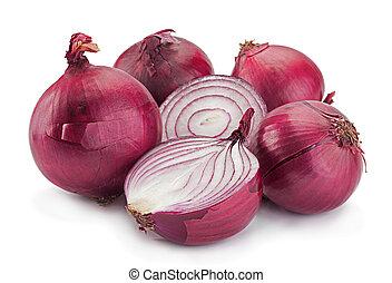Purple onion on white - Purple onion vegetable isolated on...