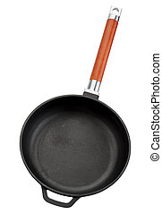 Cast iron pan with wooden handle isolated on white