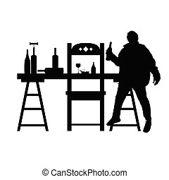 man drunk silhouette with bottle in black illustration