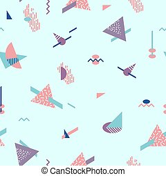 Abstract Geometric Pattern fashion 80-90s. - 3D Isometric...