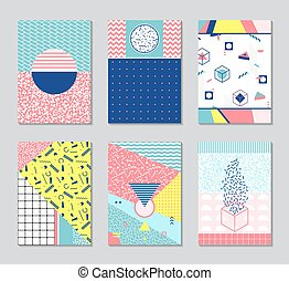 Abstract memphis style cards. - Retro texture, pattern and...