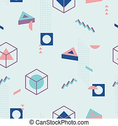 Abstract Geometric Pattern fashion 80-90s. I - 3D Isometric...