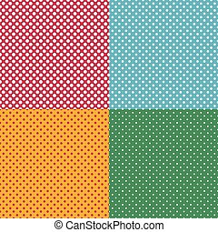 Set of bright seamless patterns with dots.