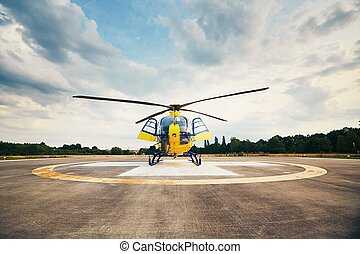 Air rescue service. Helicopter air ambulance is ready for...