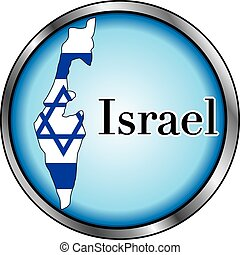 Israel Round Button - Vector Illustration for Israel, Round...