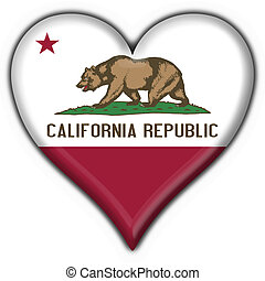 California (USA State) button flag heart shape - 3d made