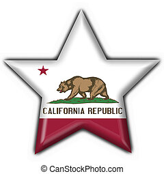 California (USA State) button flag star shape - 3d made