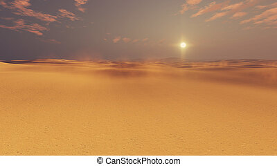 Barren desert lands at sunset - Barren dunes in sandy...