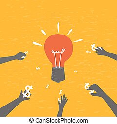 Crowdfunding concept, investing into ideas. - vector...