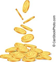 Falling golden coins isolated on white background. vector...