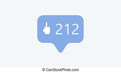 animation - modern middle finger up blue icon on white background. 4K video. Animation with alpha