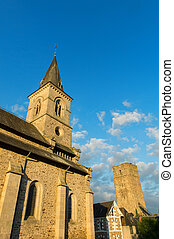 French church tower - Detail of French church in the...